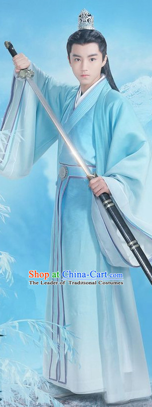 Ancient Chinese Swordsman Knight Costumes and Hair Jewelry Complete Set for Youth Boys