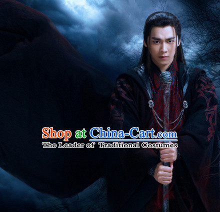 Ancient Chinese Knight Costumes and Hair Jewelry Complete Set for Men Adults Boys Kids Youth Children