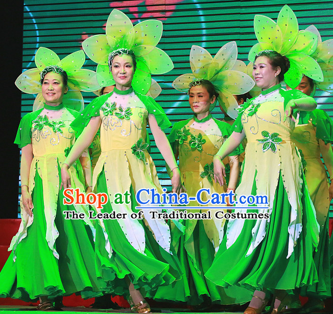 Chinese Classic Jasmine Flower Dance Costumes and Headdress Complete Set for Women
