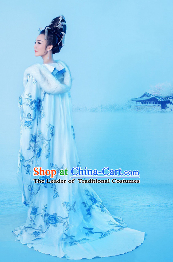 Chinese Ancient Palace Imperial Queen Costumes and Hair Accessories Complete Set for Women