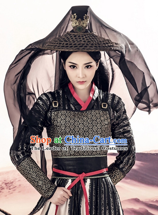 Chinese Ancient Knight Costumes and Hair Accessories Complete Set for Men and Women