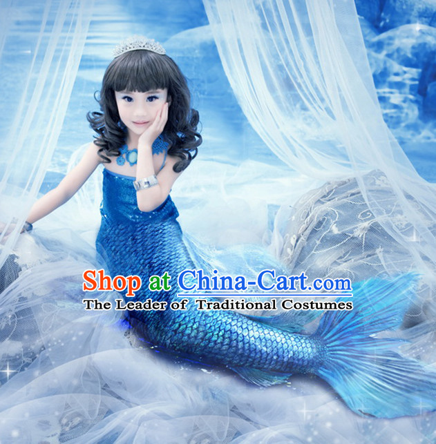 Chinese Ancient Mermaid Costumes and Hair Accessories Complete Set for Girls Children Kids