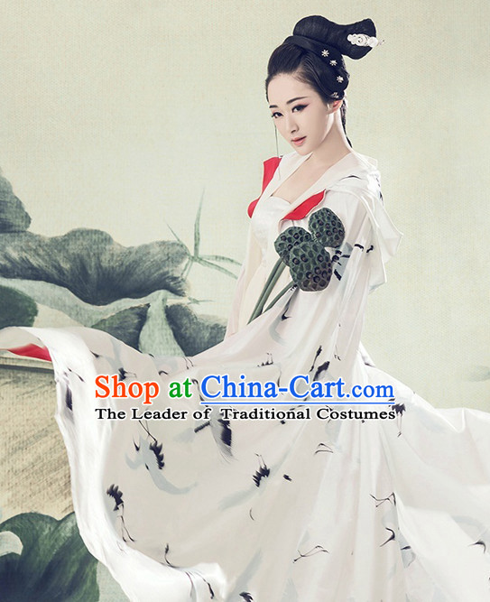 Chinese Ancient Mysterious Lady Costumes Cape and Hair Jewelry Complete Set for Women