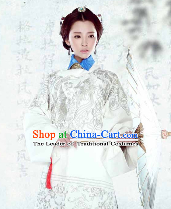 Chinese Ancient Ming Dynasty Empress Embroidered Clothing and Hair Jewelry Complete Set for Women