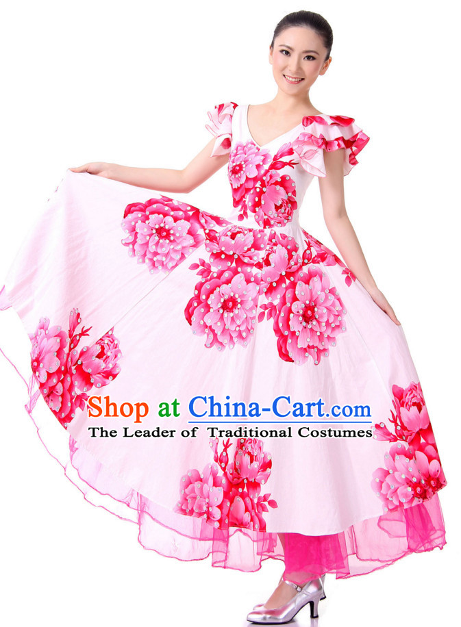 Chinese Traditional Opening Ceremony Group Dancing Costumes and Headdress Complete Set for Women
