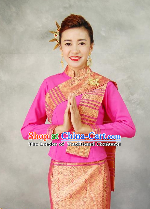 Traditional National Thai Dress Thai Traditional Dress Dresses Wedding Dress online for Sale Thai Clothing Thailand Clothes Complete Set for Women Girls Adults Youth Kids