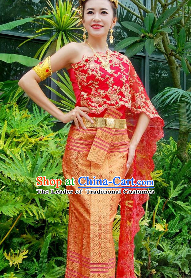 Traditional National Bridal Thai Dress Thai Traditional Dress Dresses Wedding Dress online for Sale Thai Clothing Thailand Clothes Complete Set for Women Girls Adults Youth Kids