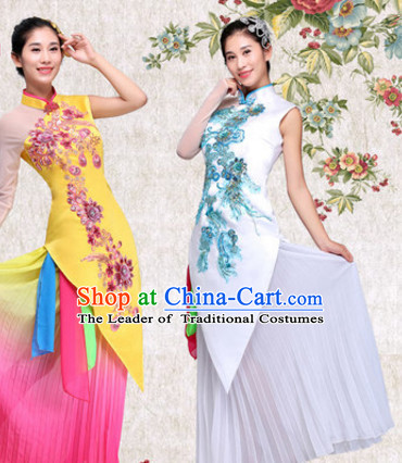 Chinese Folk Group Classic Dance Costumes Dress online for Sale and Headdress Complete Set for Women Girls Adults Youth Kids