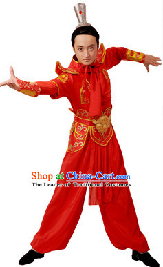 Chinese Imperial Palace Classical Dance Costumes Dancewear and Headpieces Complete Set for Men