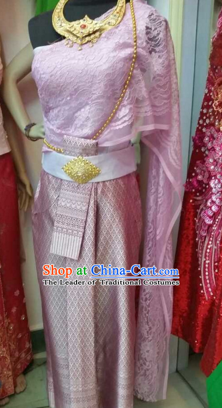 Traditional National Thai Garment Dress Thai Traditional Dress Dresses Wedding Dress Complete Set for Women Girls Adults Youth Kids