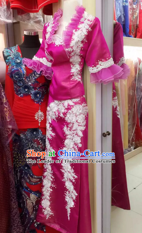 Top Traditional National Thai Garment Dress Thai Traditional Dress Dresses Wedding Dress Complete Set for Women Girls Youth Kids Adults Couple
