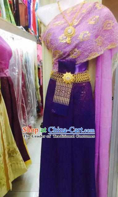 Top Traditional National Thai Costumes Garment Dress Thai Traditional Dress Dresses Wedding Dress Complete Set for Women Girls Youth Kids Adults