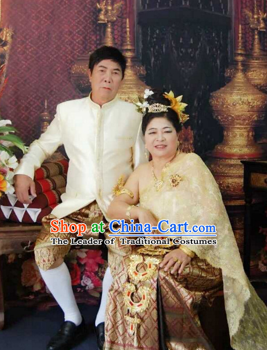 Top Traditional National Thai Garment Dress Thai Traditional Dress Dresses Wedding Dress Complete Set for Couples