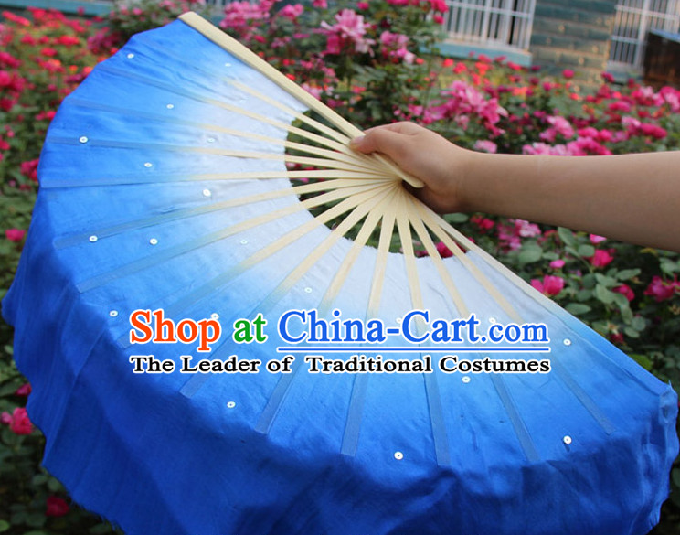 White to Blue Color Transition Traditional Chinese Pure Silk Dance Fan