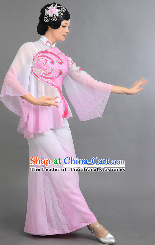 Traditional Chinese Classical Dance Costumes Custom Dance Costume Folk Dancing Chinese Dress Cultural Dances and Headdress Complete Set