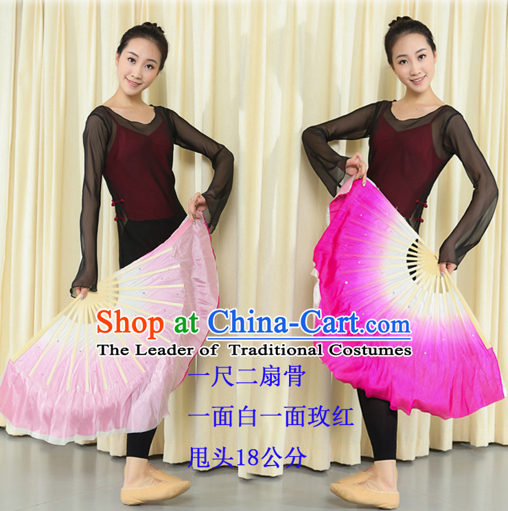 Professional Traditional Chinese Beijing Dance Academy Color Transition Two Colors Two Sides Pure Silk Dance Fan