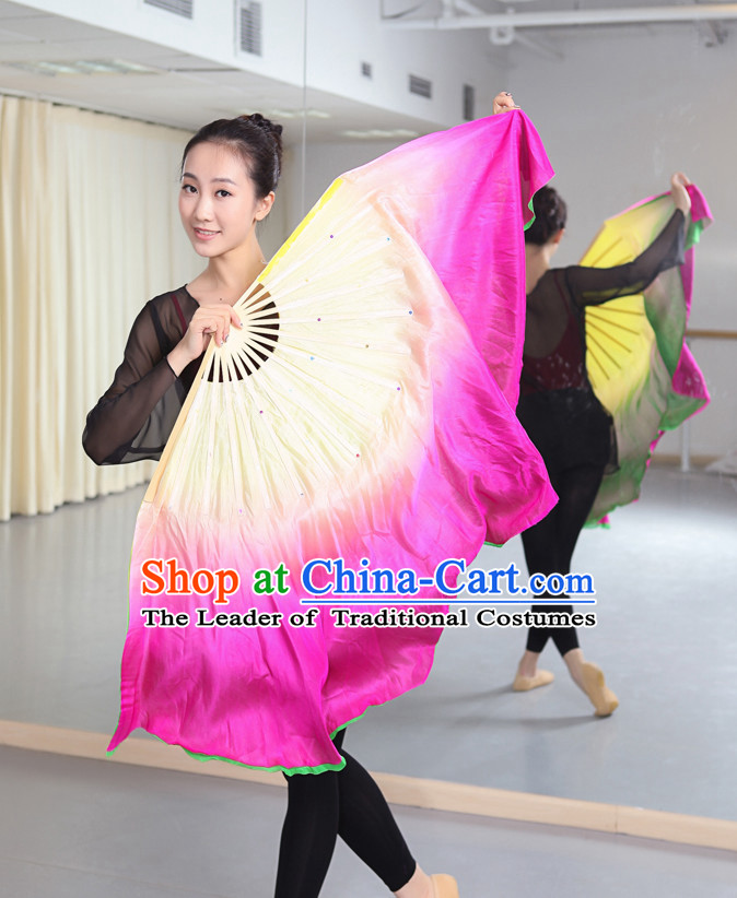 Professional Traditional Chinese Beijing Dance Academy Two Layers Two Sides Two Colors Color Transition Pure Silk Dance Fan