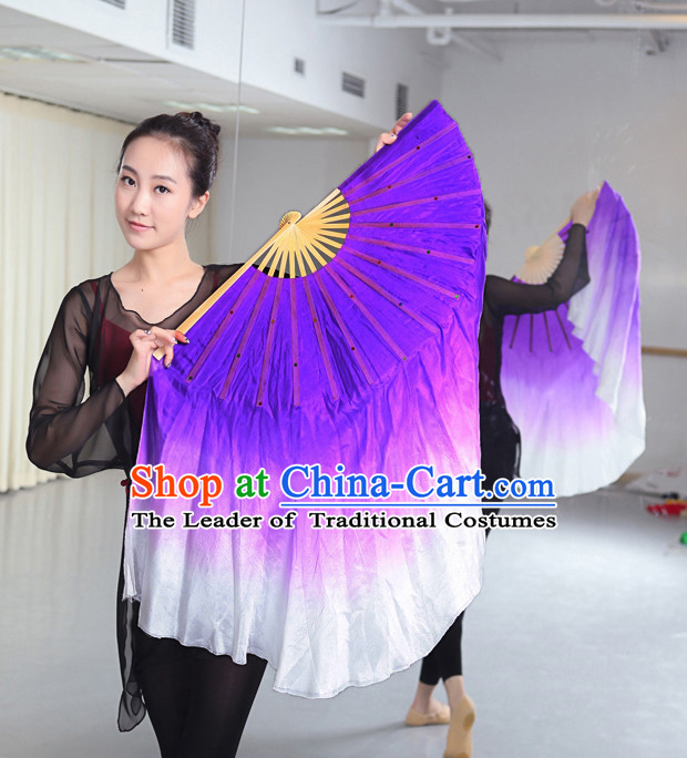 Professional Traditional Two Colors White to Purple Color Transition Pure Silk Dance Fan