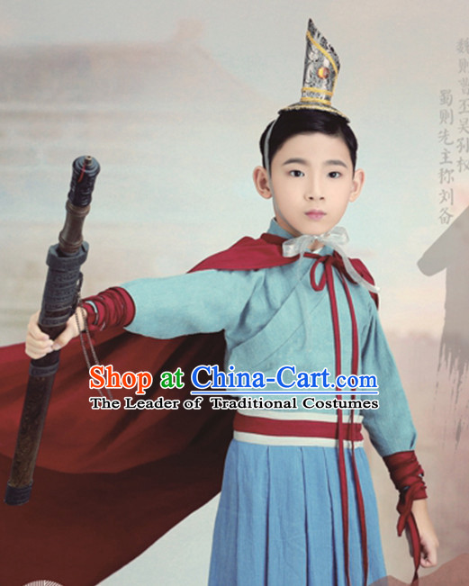 Ancient Chinese Emperor Clothing and Hat Complete Set for Children Kids