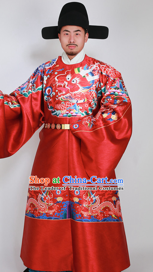 Ancient Chinese Wedding Bridal Clothing and Hat Complete Set for Men