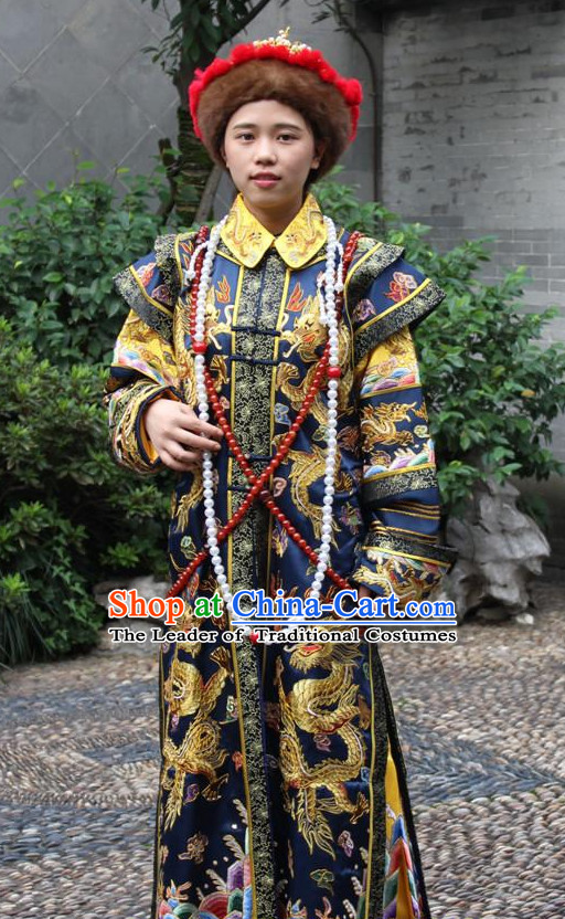 Asian Chinese Empress Queen Long Dresses Hanfu Costume Clothing Chinese Robe Chinese Kimono and Crown Complete Set for Women