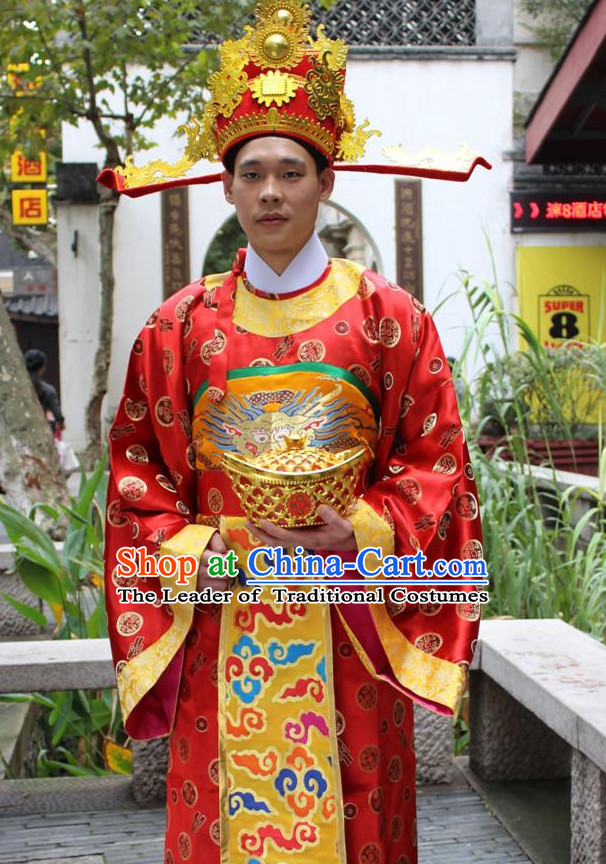 Asian Chinese Legend Cai Shen Money God Long Dresses Hanfu Costume Clothing Chinese Robe Chinese Kimono and Crown Complete Set for Men