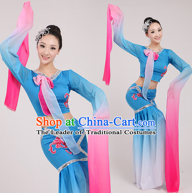 Asian Chinese Water Sleeves Long Sleeve Dance Costume Clothing Oriental Dress and Hair Accessories Complete Set for Women Girls Adults Children