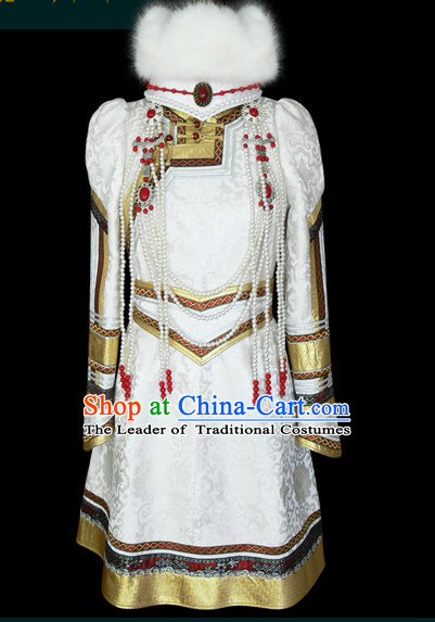 Chinese Mongolian People Yuan Dynasty Mongolians Dance Costumes Queen Princess Empress Clothing Dress Garment Complete Set for Women Girls