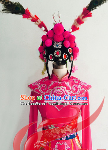 Chinese Classic Opera Dance Costumes and Hair Accessories Complete Set for Women