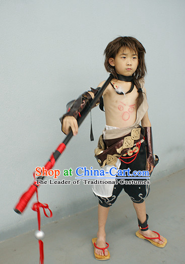 Chinese Superhero Beggar Group Cosplay Costumes Accessories and Hat Complete Set for Kids