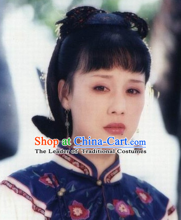 Chinese Qing Dynasty Manchu Hairstyles Black Wigs for Women or Girls