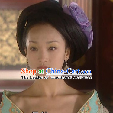 the Tang Dynasty Hairstyles Palace Tai Ping Princess Black Long Wigs and Hair Accessories for Women