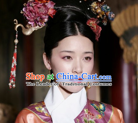 Qing Dynasty Traditional Chinese Imperial Palace Traditional Princess Headwear Headgear Hair Accessories Headdress for Women Girls