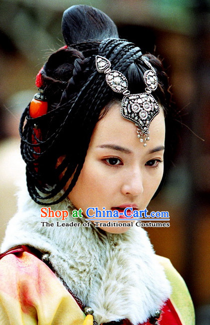 Ancient Traditional Chinese Ethnic Style Lady Black Long Wig Wigs and Headpieces for Women Girls