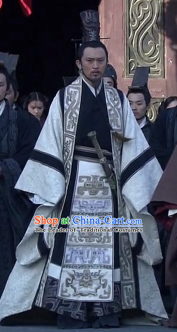 Ancient Chinese Style Minister Dress Authentic Chancellor Clothes Culture Costume Han Dresses Traditional National Dress Clothing and Headwear Complete Set for Men