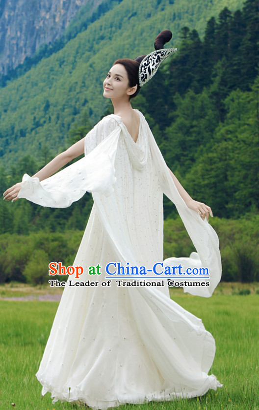 Ancient Chinese Fairy Costume Dress Authentic Clothes Culture Han Dresses Traditional National Dress Clothing and Headpieces Complete Set for Ladies