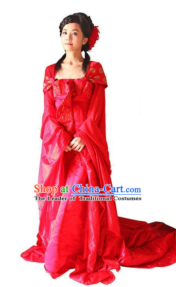 Ancient Chinese Style Red Wedding Dress Costumes Dress Authentic Clothes Culture Han Dresses Traditional National Dress Clothing and Headpieces Complete Set for Brides