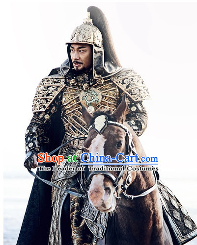 Ancient Chinese Style General Body Armor Costumes Dress Authentic Clothes Culture Traditional National Clothing and Headpieces Complete Set for Men