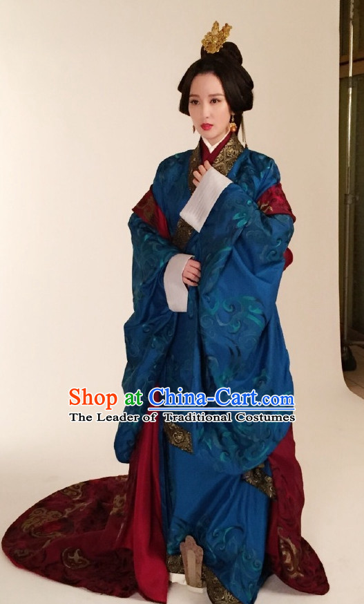 Ancient Chinese Style Princess Hanfu Costumes Dress Authentic Clothes Culture Han Dresses Traditional National Dress Clothing and Headpieces Complete Set