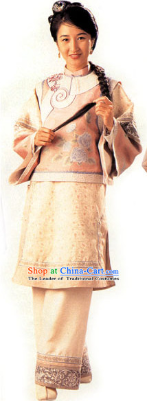 Traditional Chinese Ancient Wife Costume and Headdress Complete Set