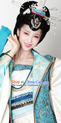 Traditional Ancient Chinese Style Imperial Palace Royal Princess Queen Empress Black Full Wigs and Headpieces Hair Jewelry Set for Women and Girls