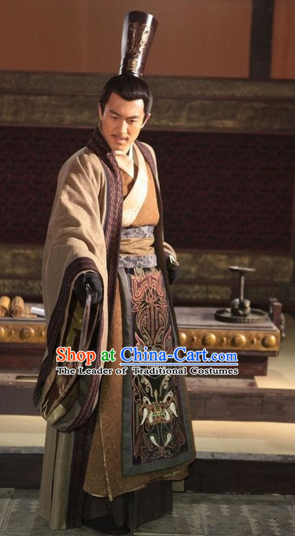 Ancient Chinese Prince Clothing and Hat Complete Set for Men