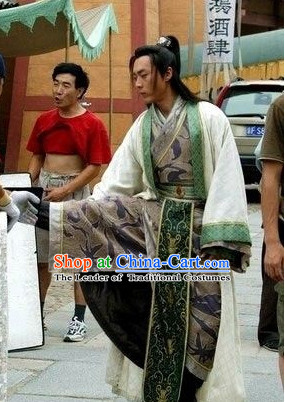 Ancient Chinese Style Swordsman Costumes Complete Set for Men Boys