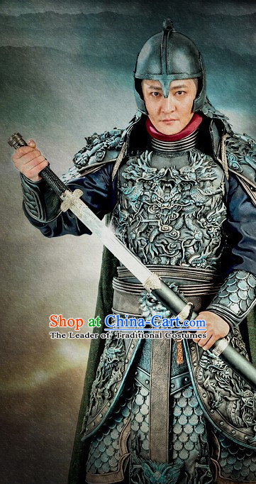 Ancient Chinese Style General Body Armor Costumes and Headwear Complete Set for Men Boys