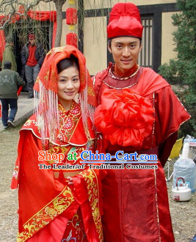 Custom Made Traditional Chinese Style TV Drama Film Wedding Dresses 2 Complete Sets