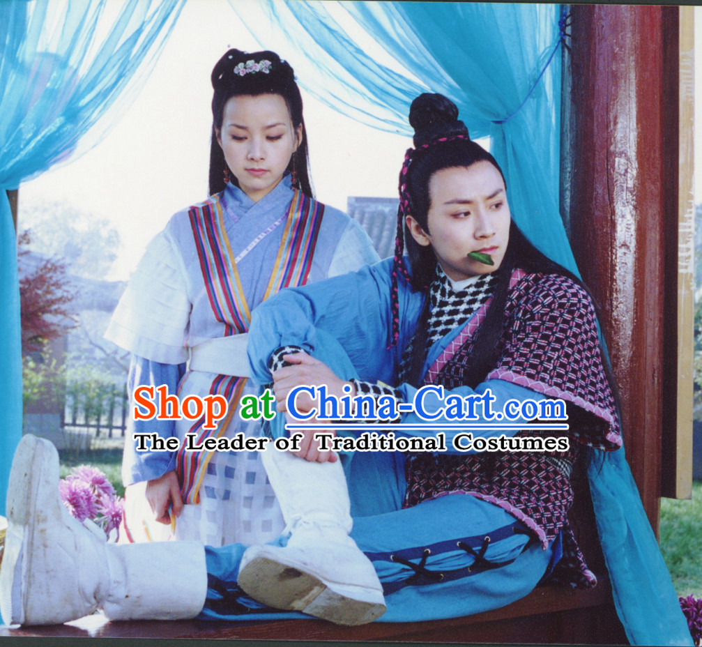 Custom Made Traditional Chinese Swordsman and Swordswoman Costumes 2 Complete Sets