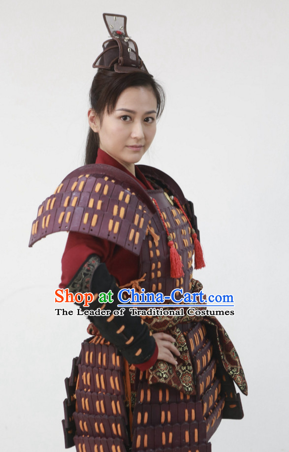 Traditional Chinese Ancient Female General Body Armor Costumes and Hairpieces Complete Set for Women