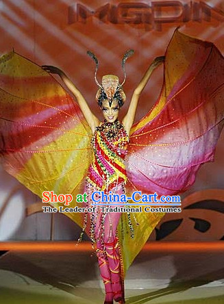 Asian Chinese Fashion Custom Tailored Custom Make Made to Order Chinese Style Fantasy Custom Made Professional Stage Performance Costumes and Hair Decoration Headwear Complete Set