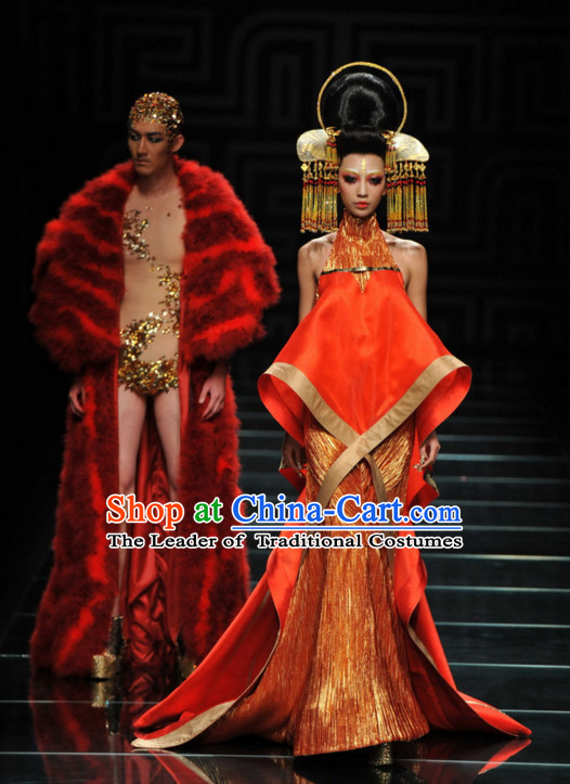 Asian Chinese Fashion Custom Tailored Fantasy Red Fur Long Robe Garment Complete Set for Men