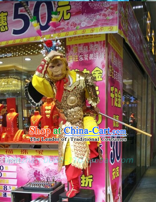 Ancient Chinese Sun Wukong Armor Clothing and Headdress Complete Set for Women